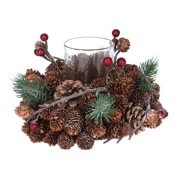 Cone/Berry/Fir Candle Holder