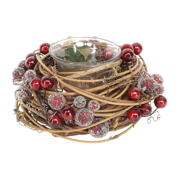 Twig/Red Berry Candle Holder