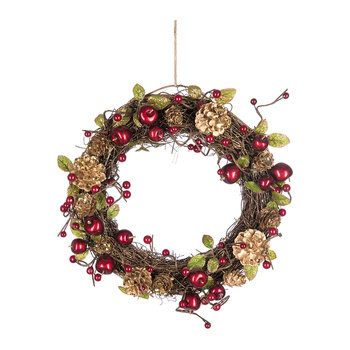 Red Cherry and Leaf Wreath with Gold Cones