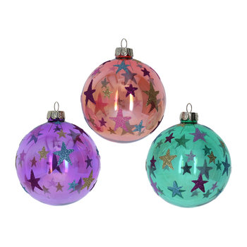 Multicolor Stars Bauble - Set of 3