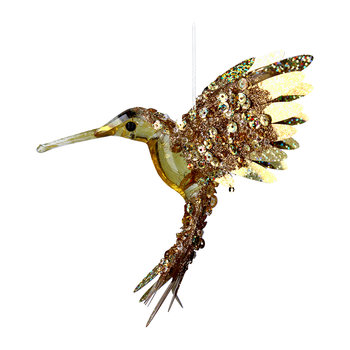 Foil/Beaded Hummingbird Tree Decoration - Gold