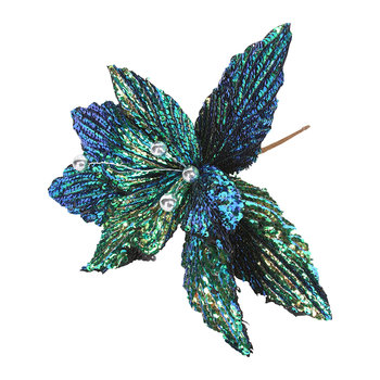 Fabric Poinsettia Tree Decoration - Set of 2 - Peacock