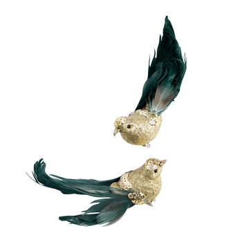 Glitter Bird with Feather Clip Tree Decoration - Set of 6 - Gold/Blue/Green