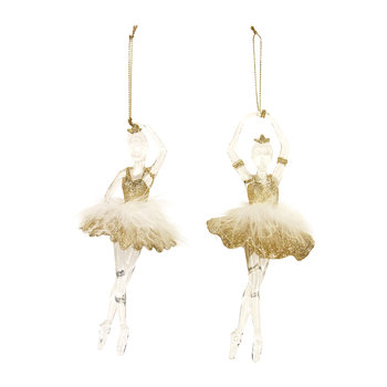 Glitter Ballerina with Feather Tree Decoration - Set of 2 - Gold