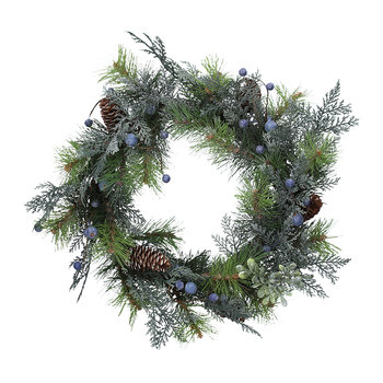 Mixed Fir Leaf Wreath with Blueberries and Cones