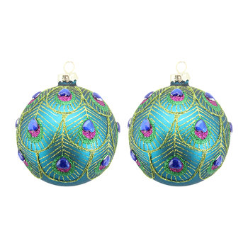 Peacock Feather Scalloped Bauble - Set of 2