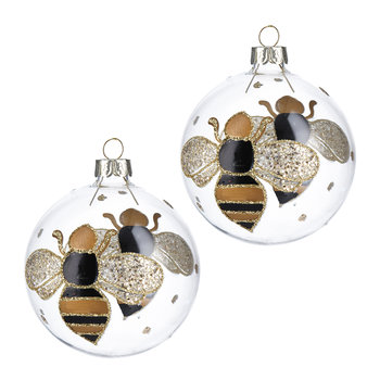 Bumble Bee Bauble - Set of 2 - Black/Gold
