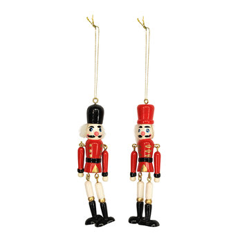 Jointed Wooden Nutcracker Tree Decoration - Set of 2
