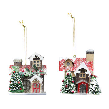 Decorated House Tree Decoration - Set of 2