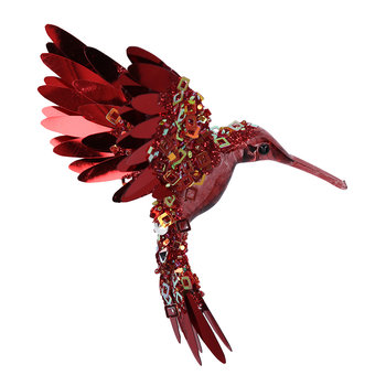 Sequin Flying Hummingbird Tree Decoration - Burgundy