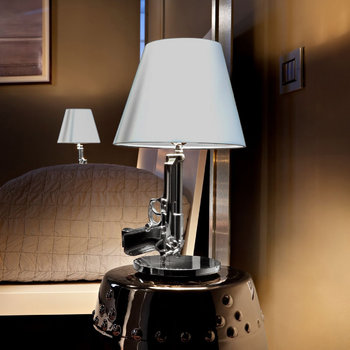 Chrome Bedside Table Gun Lamp
