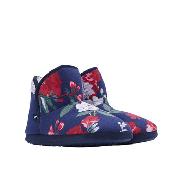 Bootie Slipper With Hard Sole - Navy Floral