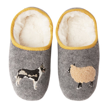 Slippet Felt Character Mule - Gray Sheep/Dog