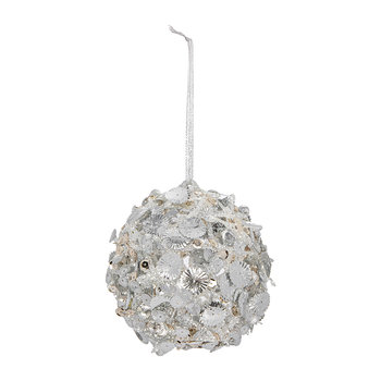 Sequin/Beaded Bauble - White/Silver
