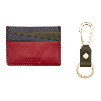 Hobson Leather Card Holder & Keyring - Multicolour