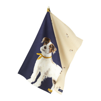Kitchen Tea Towel - Set of 2 - Navy Dog