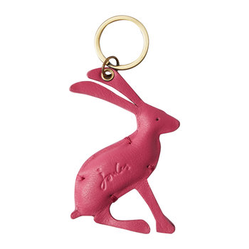Hangby Leather Hare Keyring - Pink