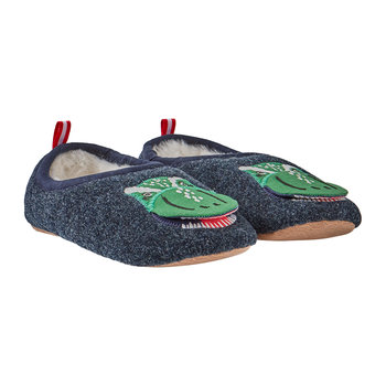 JNR Slippet Felt Slip On Slipper - Navy Dinosaur