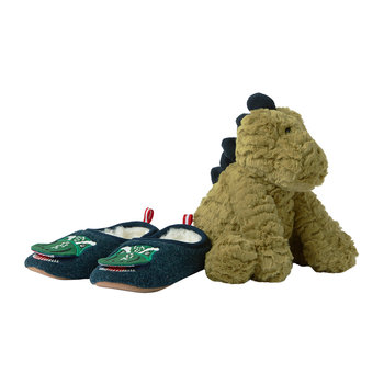 Slipper & Soft Toy Gift Set - Green Dinosaur