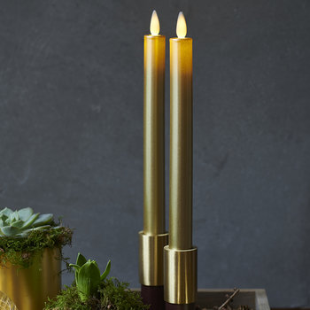 Sara Tall LED Candle - Set of 2 - Gold