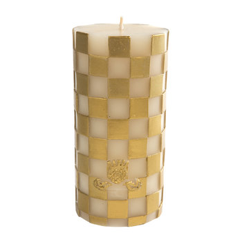 Check Pillar Candle - Gold - 15cm