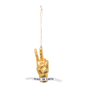 Peace Hand Tree Decoration - Gold