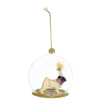 Pug with Hat Bauble