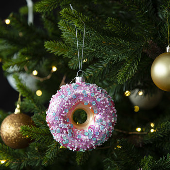 Doughnut with Sprinkles Tree Decoration - Pink