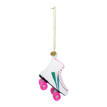 Rollerskate with Rainbow Tree Decoration - White