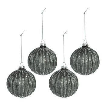 Wavy Lines Bauble - Set of 4 - Gunmetal/Silver