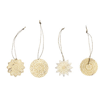 Sankari Brass Tree Decoration - Set of 4 - Brass