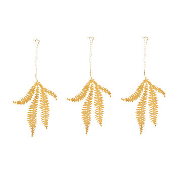 Tabwa Fern Leaf Tree Decoration - Set of 3 - Brass