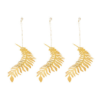 Tabwa Palm Leaf Tree Decoration - Set of 3 - Brass