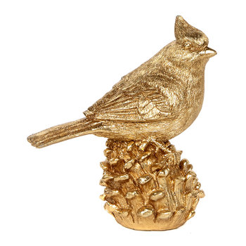 Bird on a Pine Cone Ornament - Gold