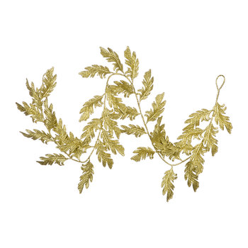 Glitter Swirl Feather and Leaf Garland - Gold