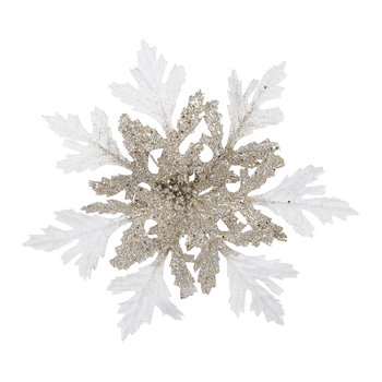 Glitter Poinsettia Clip Tree Decoration - Gold/Champagne