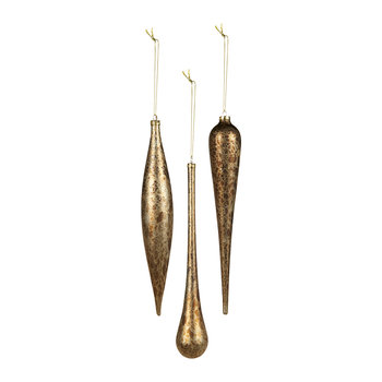 Icicle/Drop Tree Decoration - Set of 3 - Brown