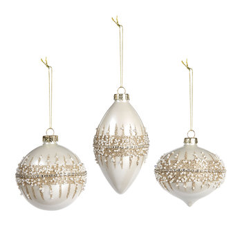 Beaded Ring Bauble - Set of 3 - White