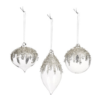 Jewel Top Bauble - Set of 3 - Clear
