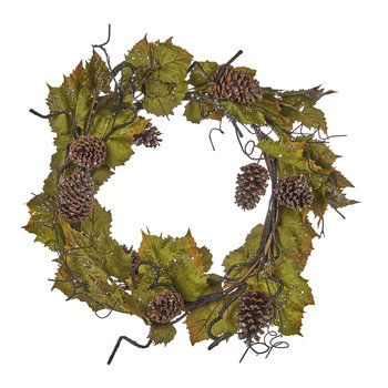 Leaf and Pine Cone Wreath - Green/Brown