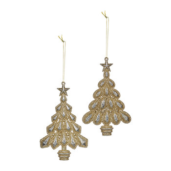 Glitter Christmas Tree in Pot Decoration - Set of 2 - Champagne/Gold