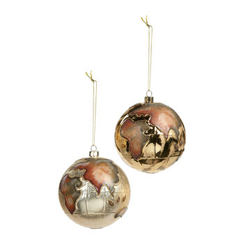 Globe Bauble - Set of 2 - Gold/Cream