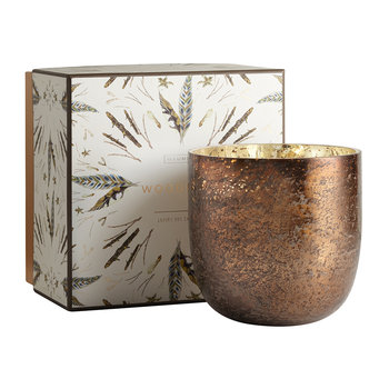 Luxe Sanded Mercury Glass Scented Candle - Woodfire - 625g
