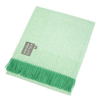 Baby Alpaca Throw Herringbone - Green/Cream