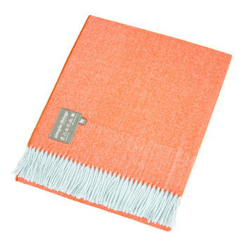 Baby Alpaca Throw Herringbone - Duck Egg/Orange