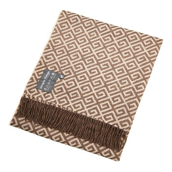 Baby Alpaca Throw Geometric - Tan