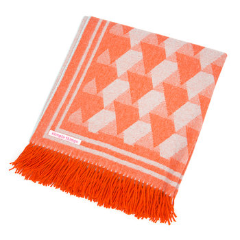 Baby Alpaca Throw Triangle - Orange/Duck Egg