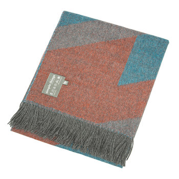 Baby Alpaca Throw  - Ski - Teal/Orange