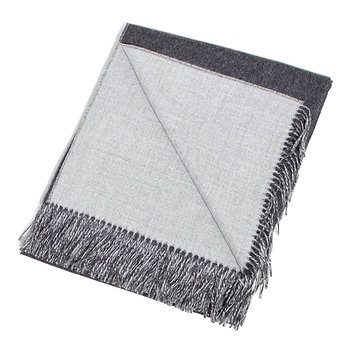 Baby Alpaca Throw Reversible - Charcoal/Grey