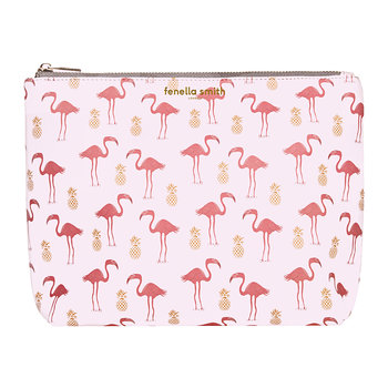 Flamingo & Pineapple Vegan Leather Washbag